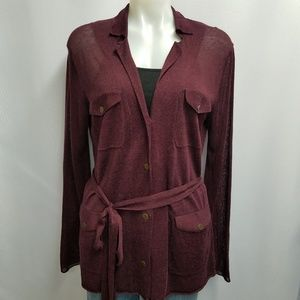 Moda International Belted Cardigan Sweater Medium